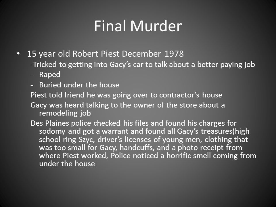 Final Murder 15 year old Robert Piest December 1978