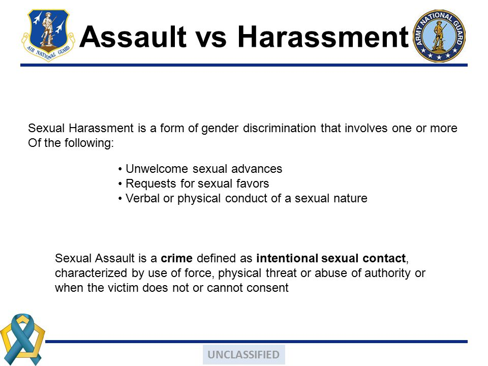 Assault vs Harassment Sexual Harassment is a form of gender discrimination that involves one or more.