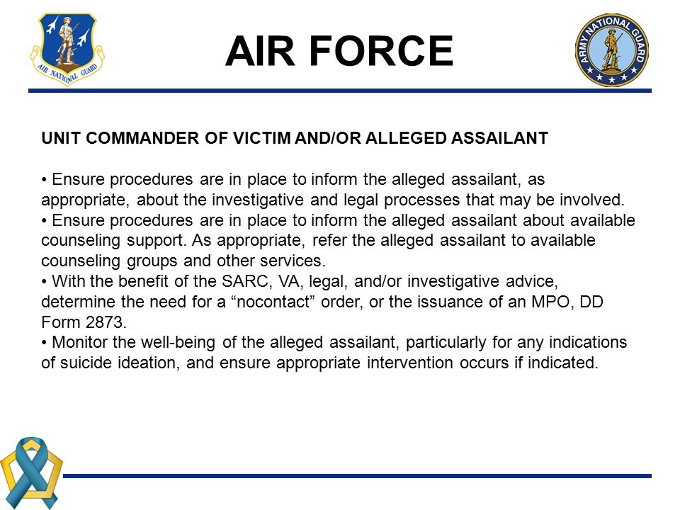 AIR FORCE UNIT COMMANDER OF VICTIM AND/OR ALLEGED ASSAILANT