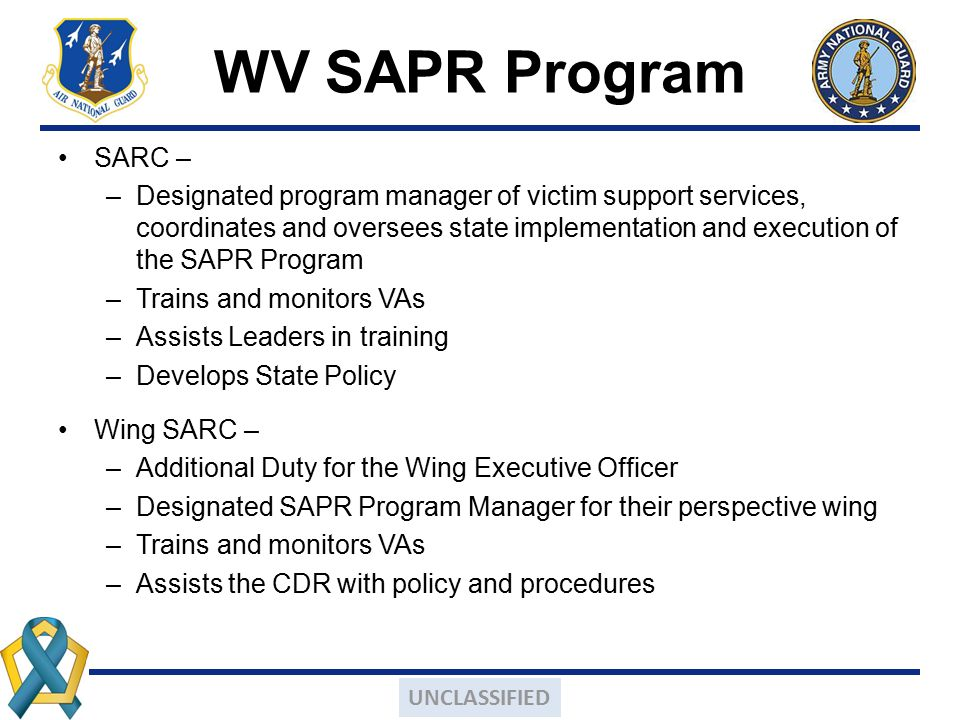WV SAPR Program SARC –