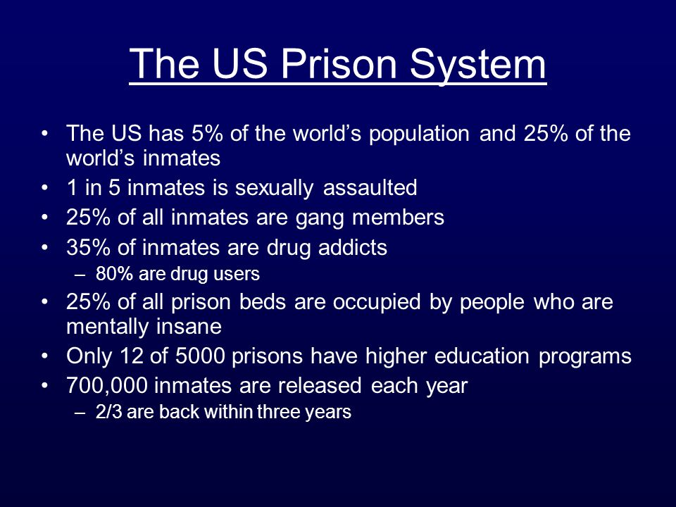 The US Prison System The US has 5% of the world's population and 25% of the world's inmates. 1 in 5 inmates is sexually assaulted.