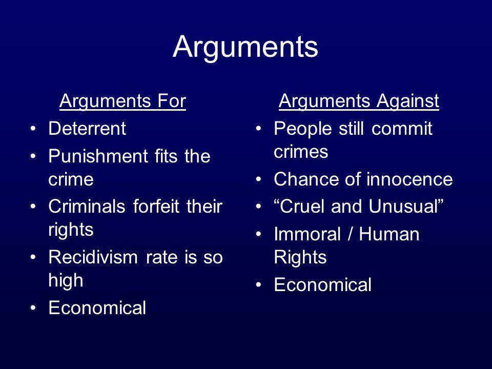 Arguments Arguments For Deterrent Punishment fits the crime
