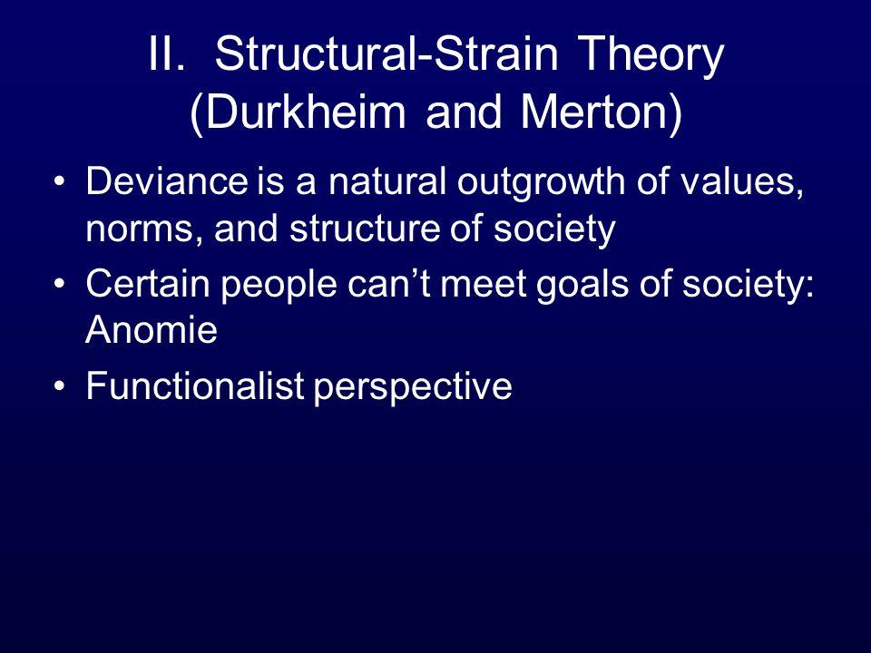 II. Structural-Strain Theory (Durkheim and Merton)
