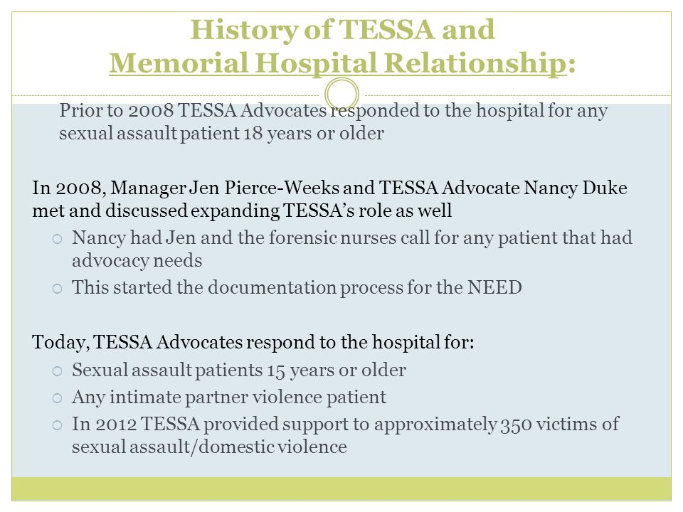 History of TESSA and Memorial Hospital Relationship: