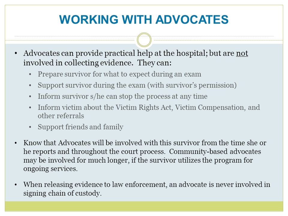 WORKING WITH ADVOCATES