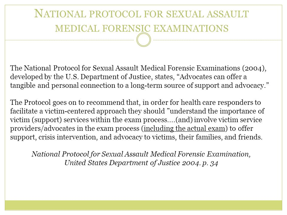 National protocol for sexual assault medical forensic examinations