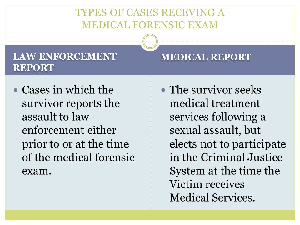 TYPES OF CASES RECEVING A MEDICAL FORENSIC EXAM