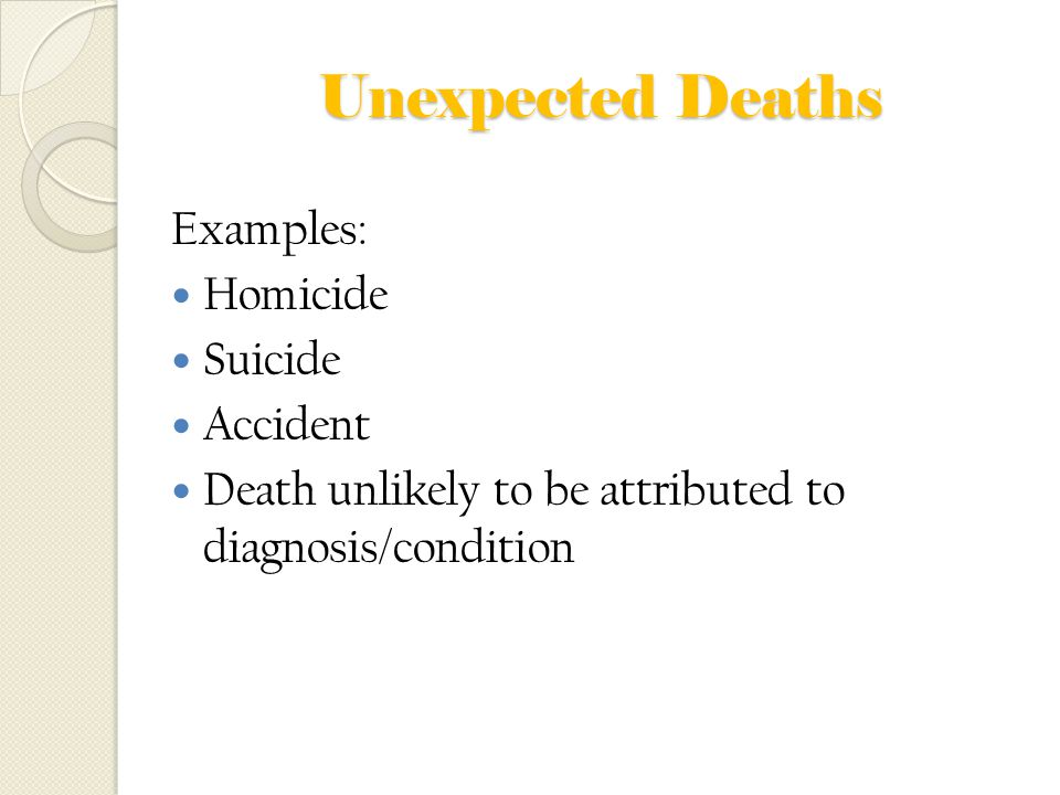 Unexpected Deaths Examples: Homicide Suicide Accident