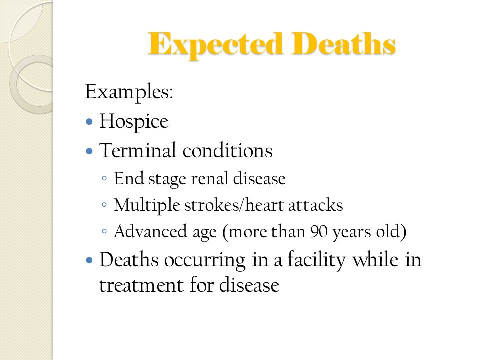 Expected Deaths Examples: Hospice Terminal conditions