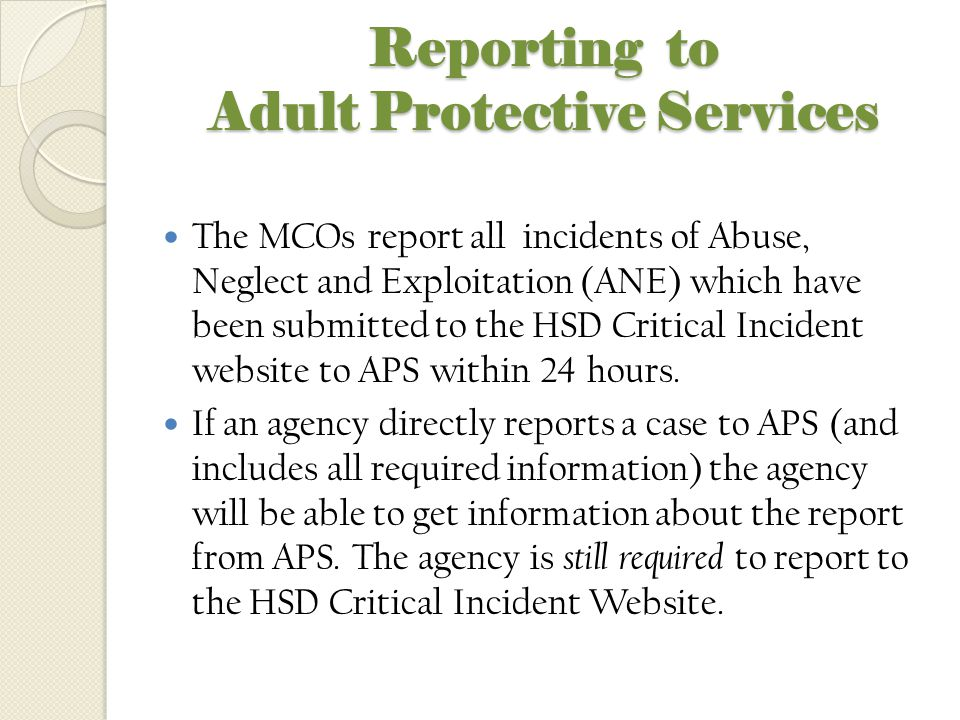 Reporting to Adult Protective Services