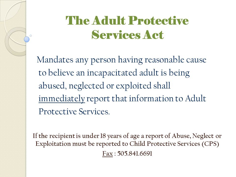 The Adult Protective Services Act
