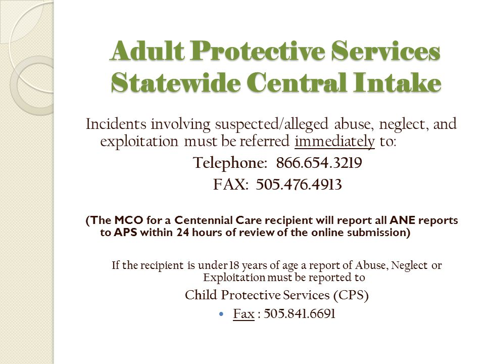 Adult Protective Services Statewide Central Intake