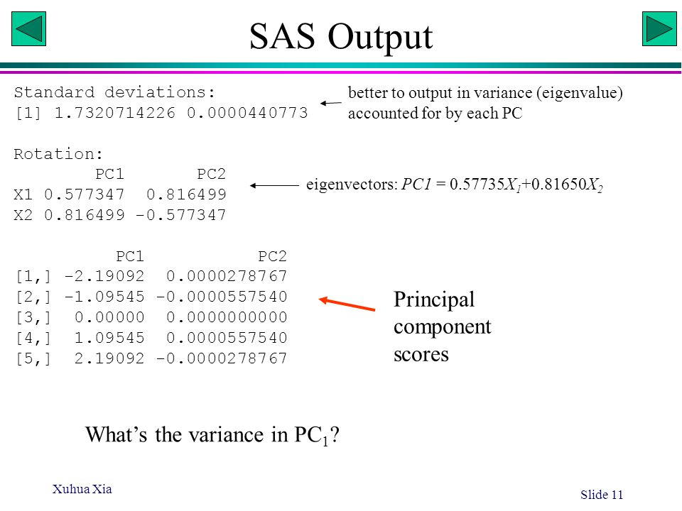 SAS Output Principal component scores What's the variance in PC1