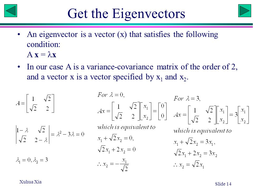 Get the Eigenvectors An eigenvector is a vector (x) that satisfies the following condition: A x = x.