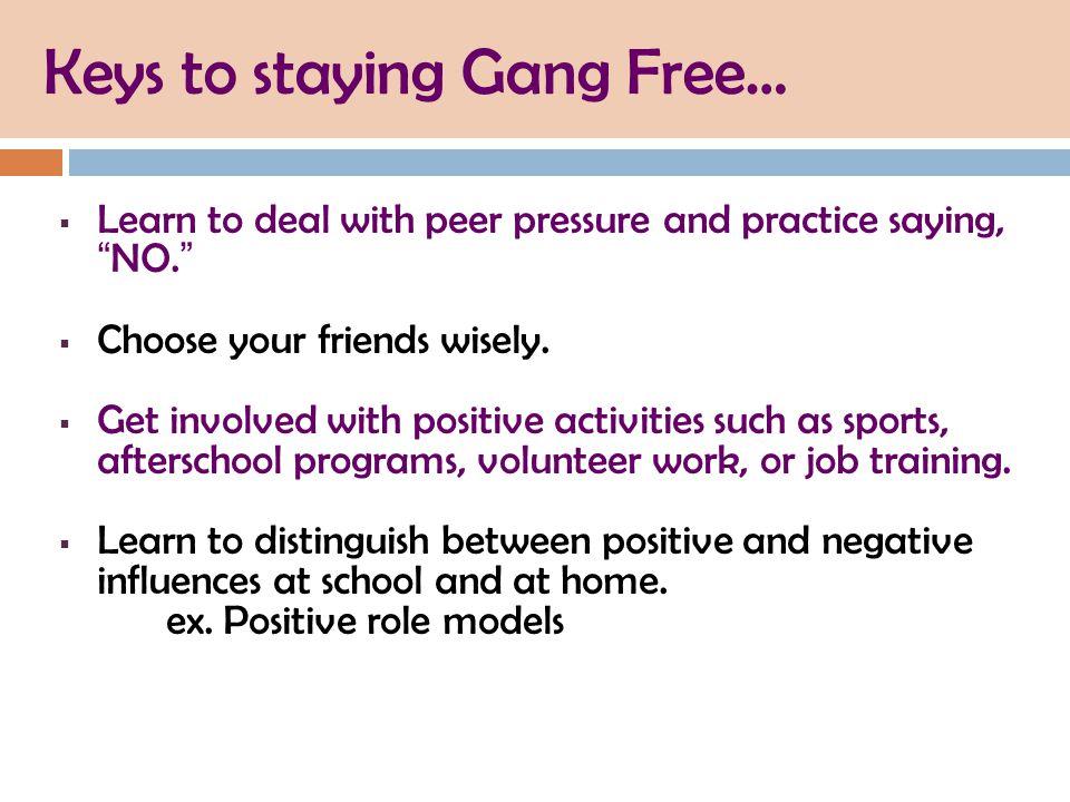 Keys to staying Gang Free…