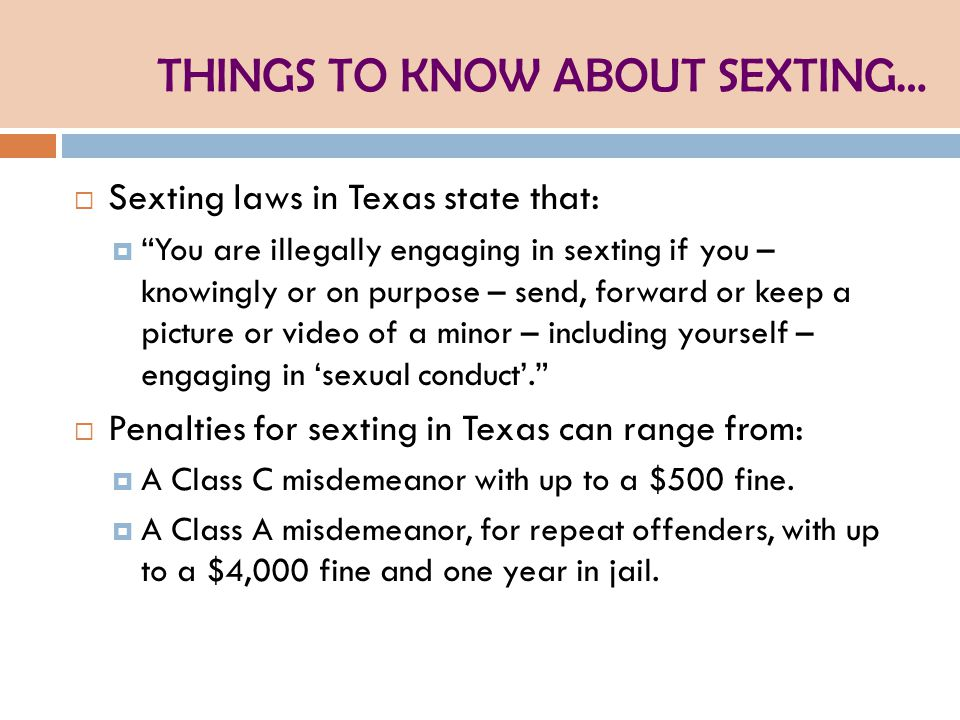 THINGS TO KNOW ABOUT SEXTING…