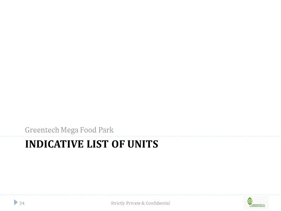 Indicative list of units