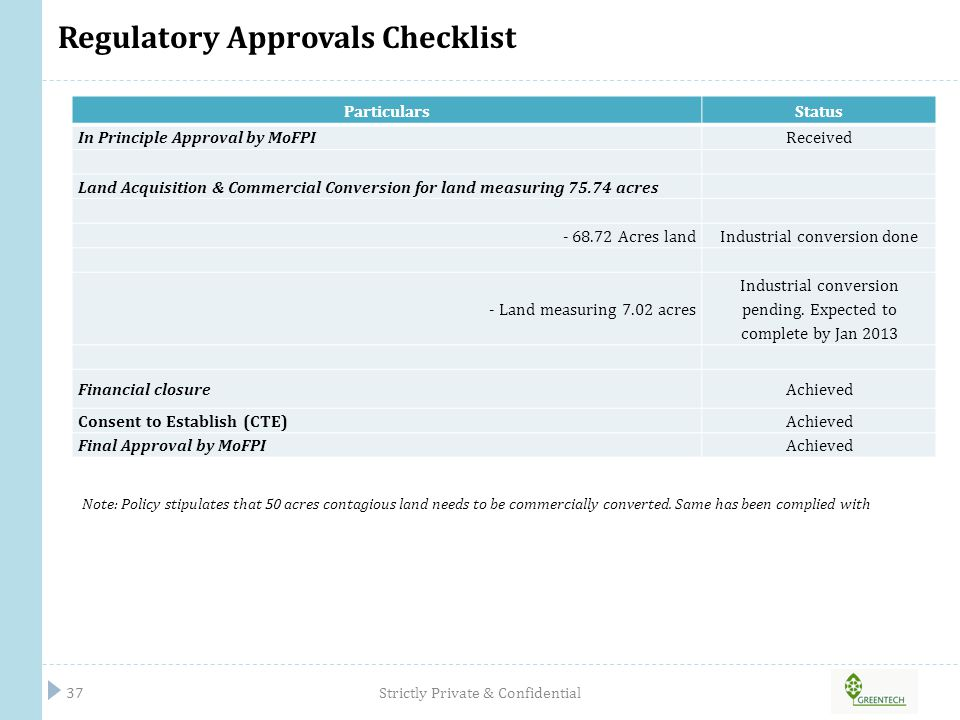 Regulatory Approvals Checklist