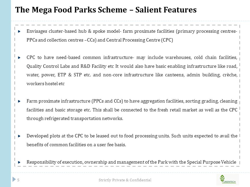 The Mega Food Parks Scheme – Salient Features