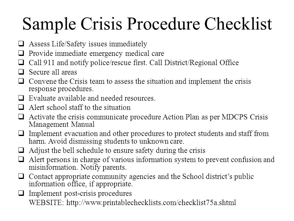 Sample Crisis Procedure Checklist