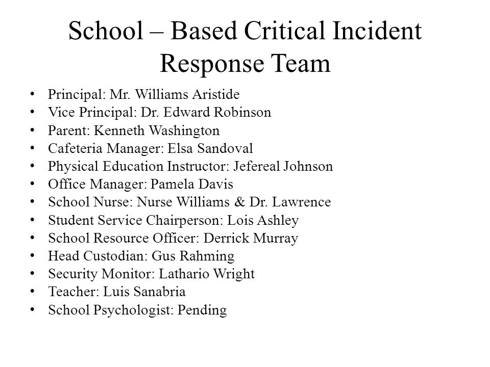 School – Based Critical Incident Response Team