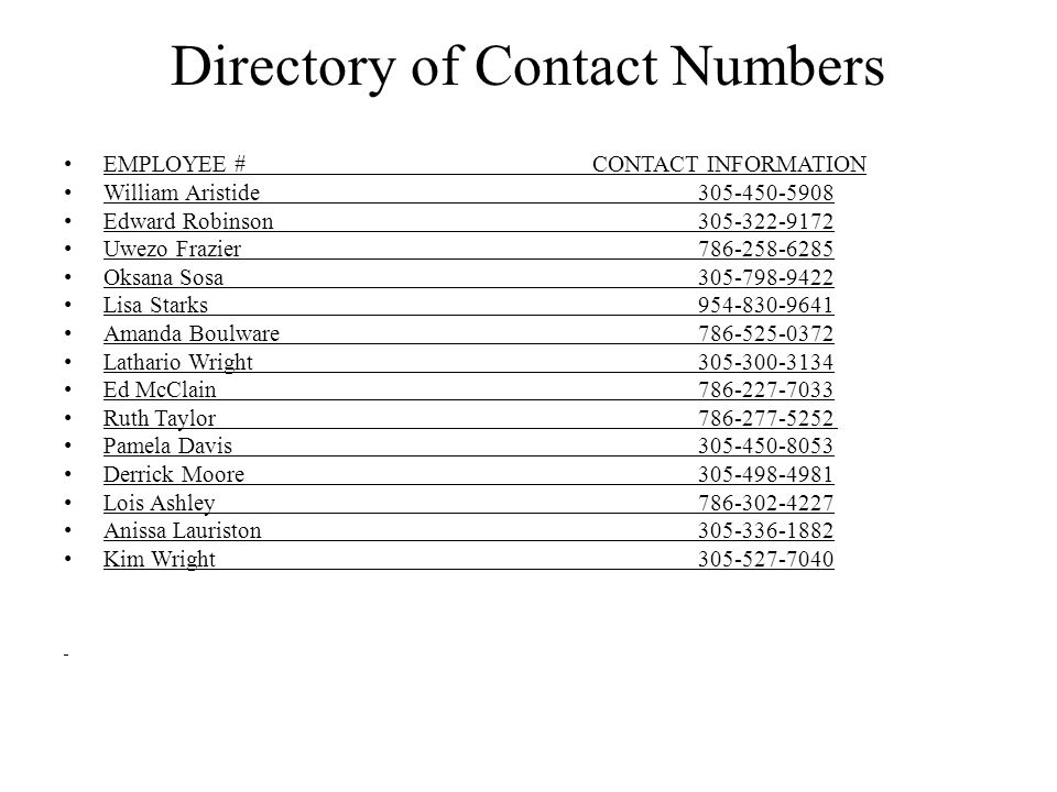 Directory of Contact Numbers