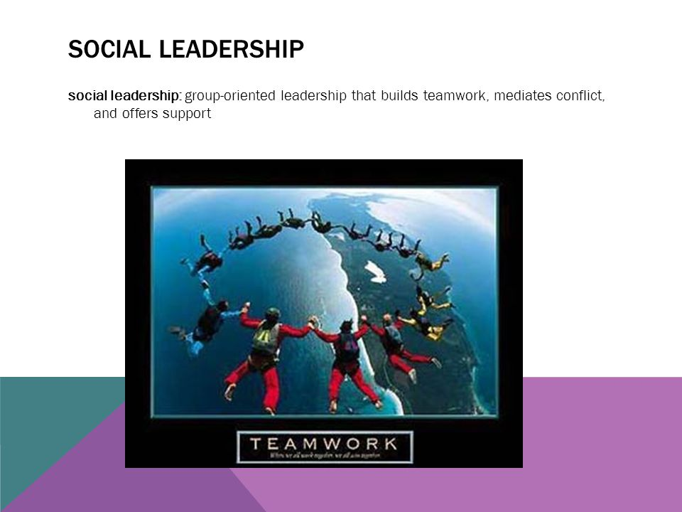 Social leadership social leadership: group-oriented leadership that builds teamwork, mediates conflict, and offers support.