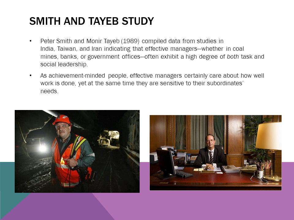 Smith and Tayeb Study