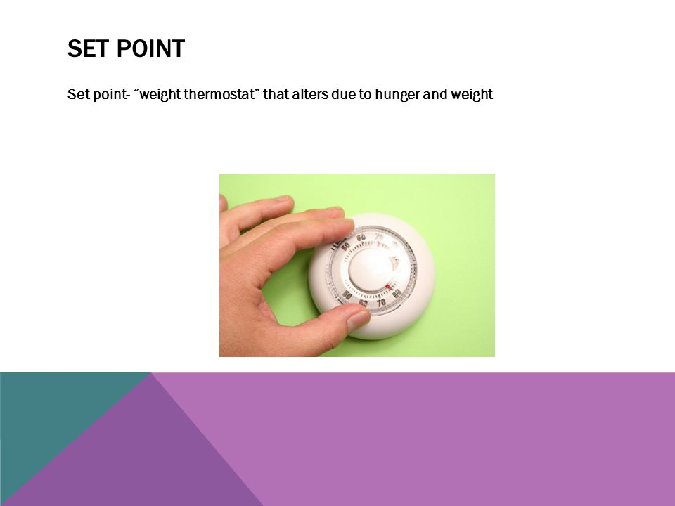 Set point Set point- weight thermostat that alters due to hunger and weight
