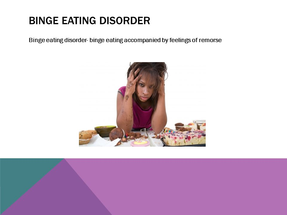 Binge eating disorder Binge eating disorder- binge eating accompanied by feelings of remorse