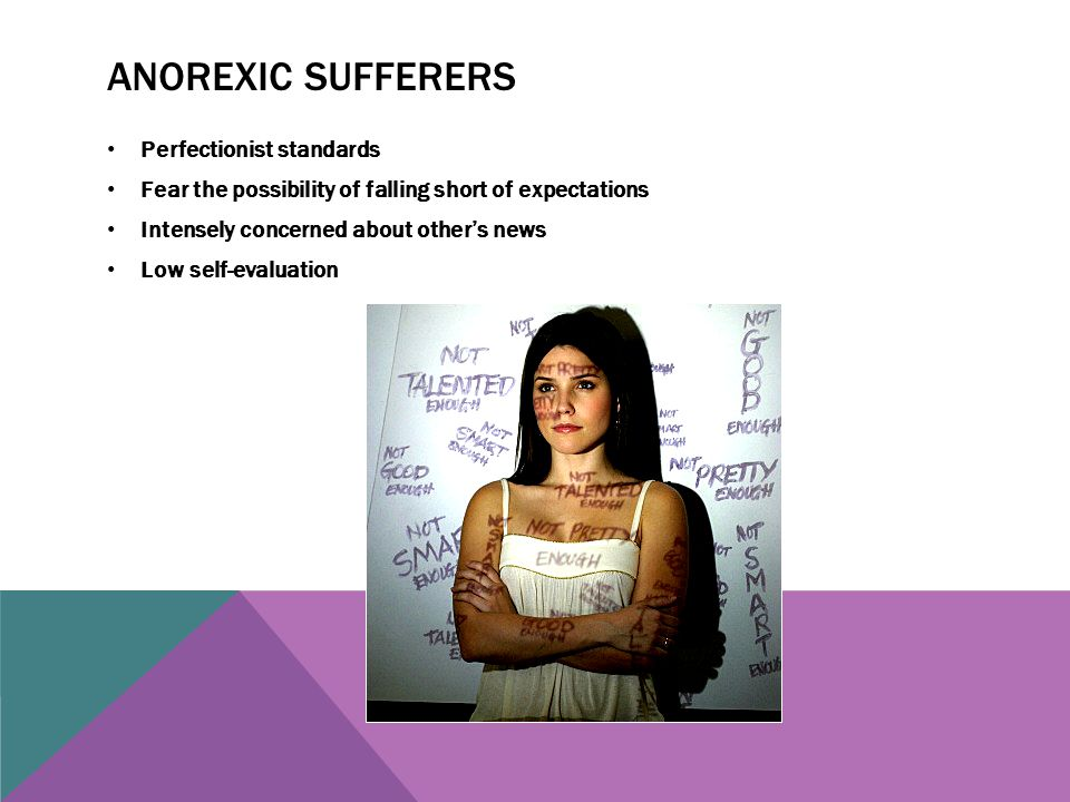 Anorexic sufferers Perfectionist standards