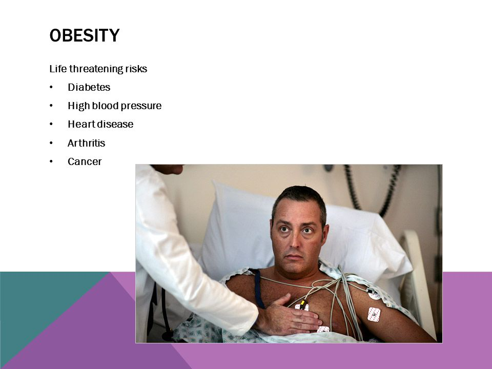 Obesity Life threatening risks Diabetes High blood pressure