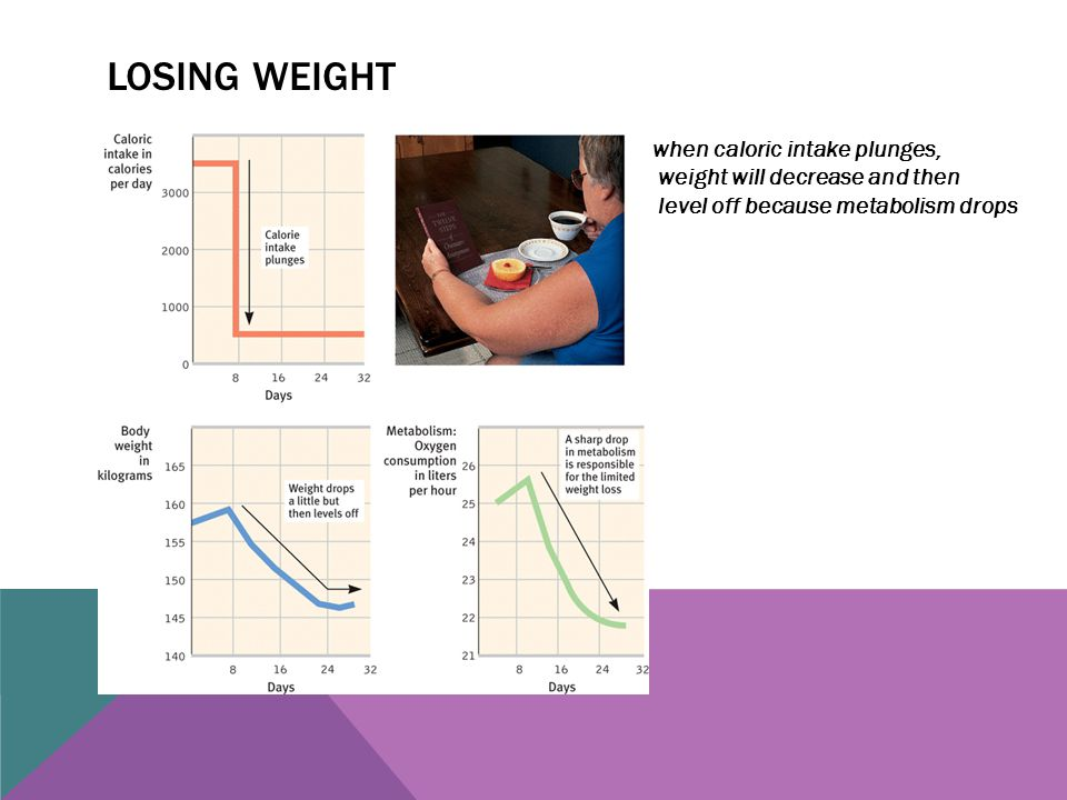 Losing weight when caloric intake plunges, weight will decrease and then level off because metabolism drops.