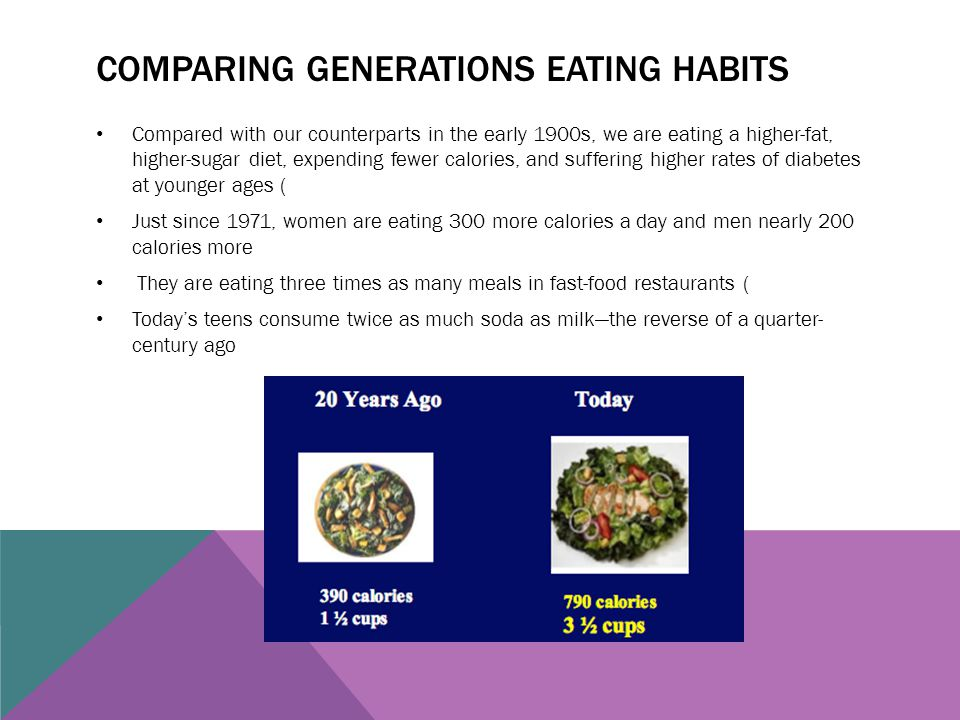 Comparing generations eating habits