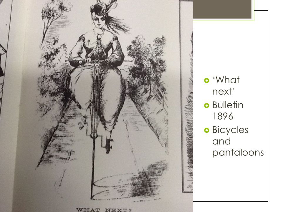 'What next' Bulletin 1896 Bicycles and pantaloons
