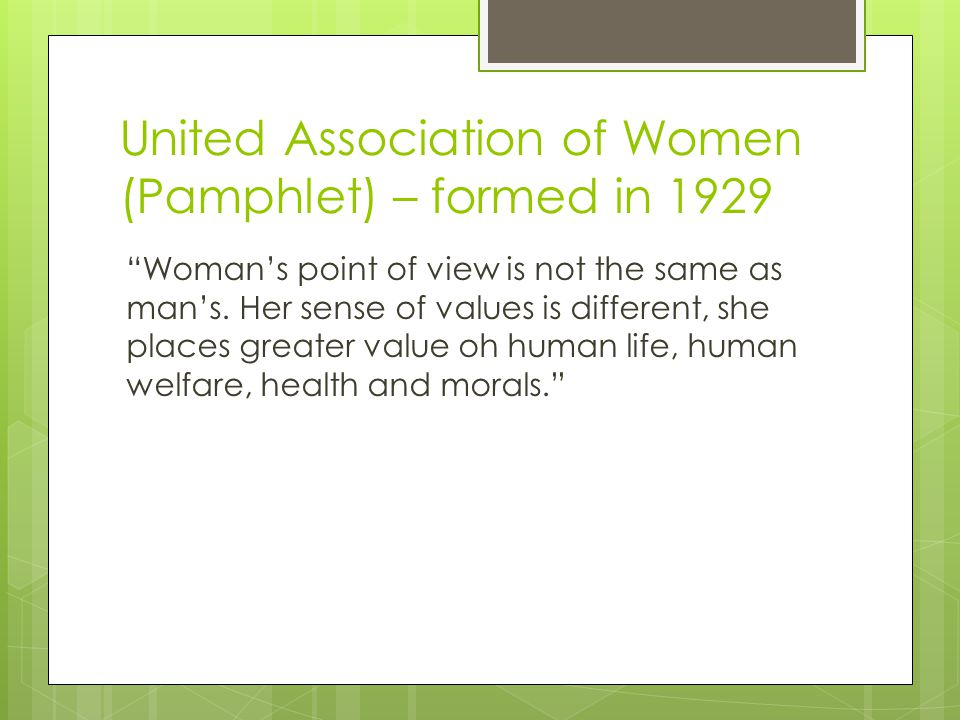 United Association of Women (Pamphlet) – formed in 1929