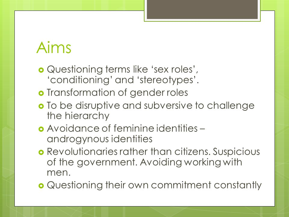Aims Questioning terms like 'sex roles', 'conditioning' and 'stereotypes'. Transformation of gender roles.