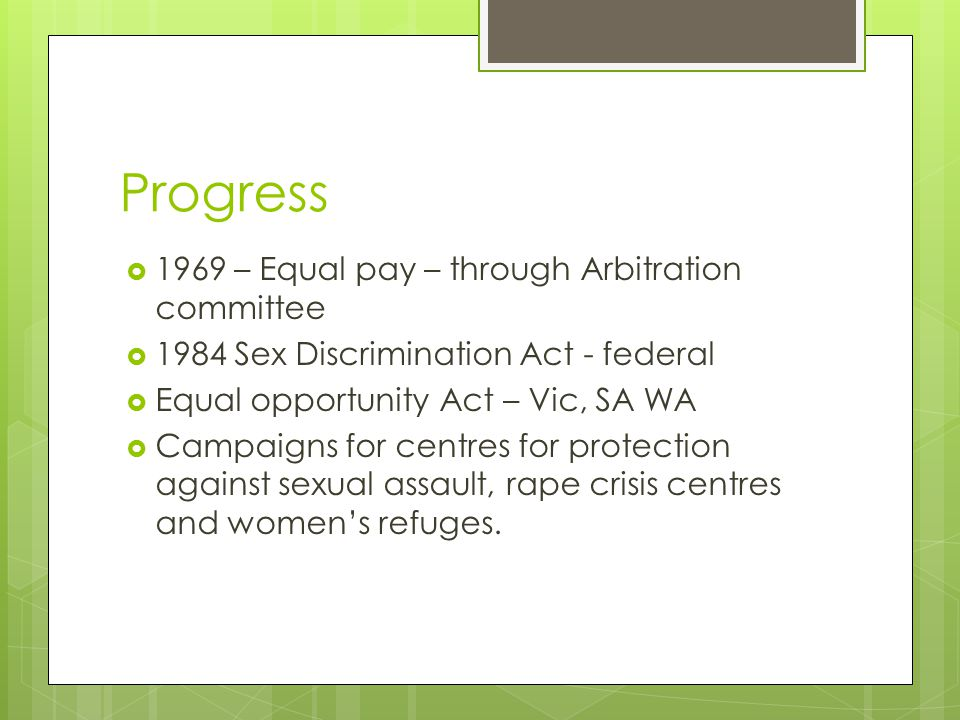 Progress 1969 – Equal pay – through Arbitration committee