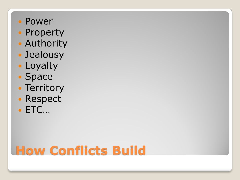 How Conflicts Build Power Property Authority Jealousy Loyalty Space