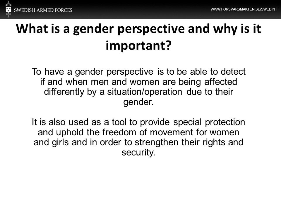 What is a gender perspective and why is it important