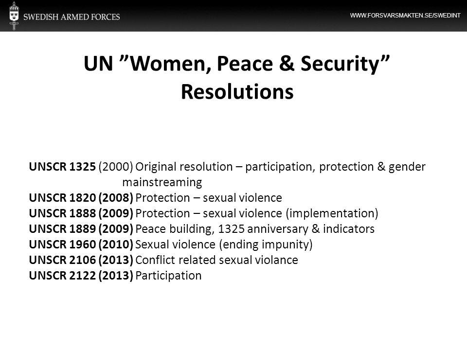 UN Women, Peace & Security Resolutions
