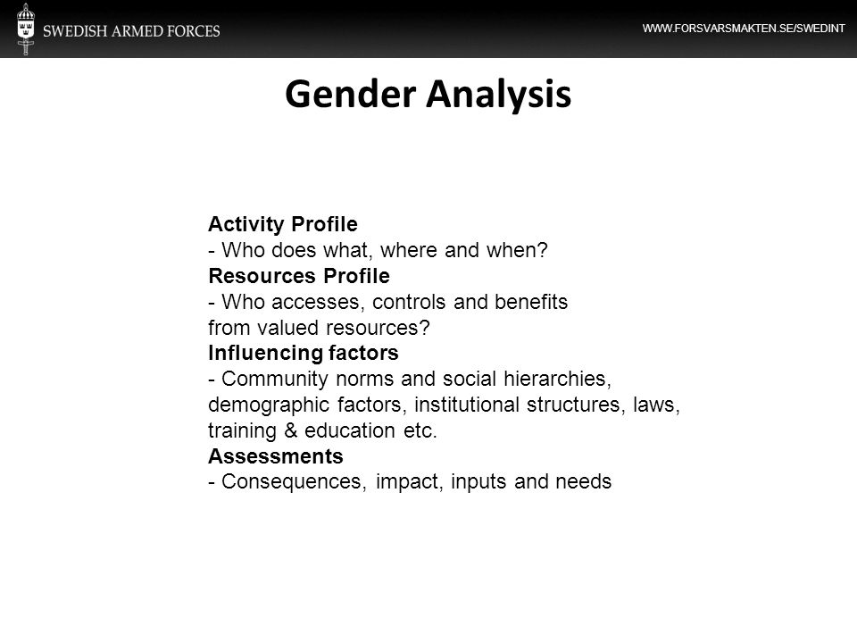 Gender Analysis Activity Profile - Who does what, where and when