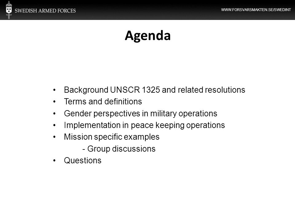 Agenda Background UNSCR 1325 and related resolutions