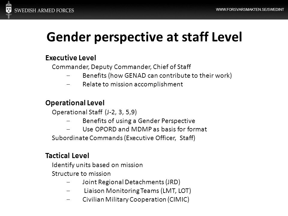 Gender perspective at staff Level