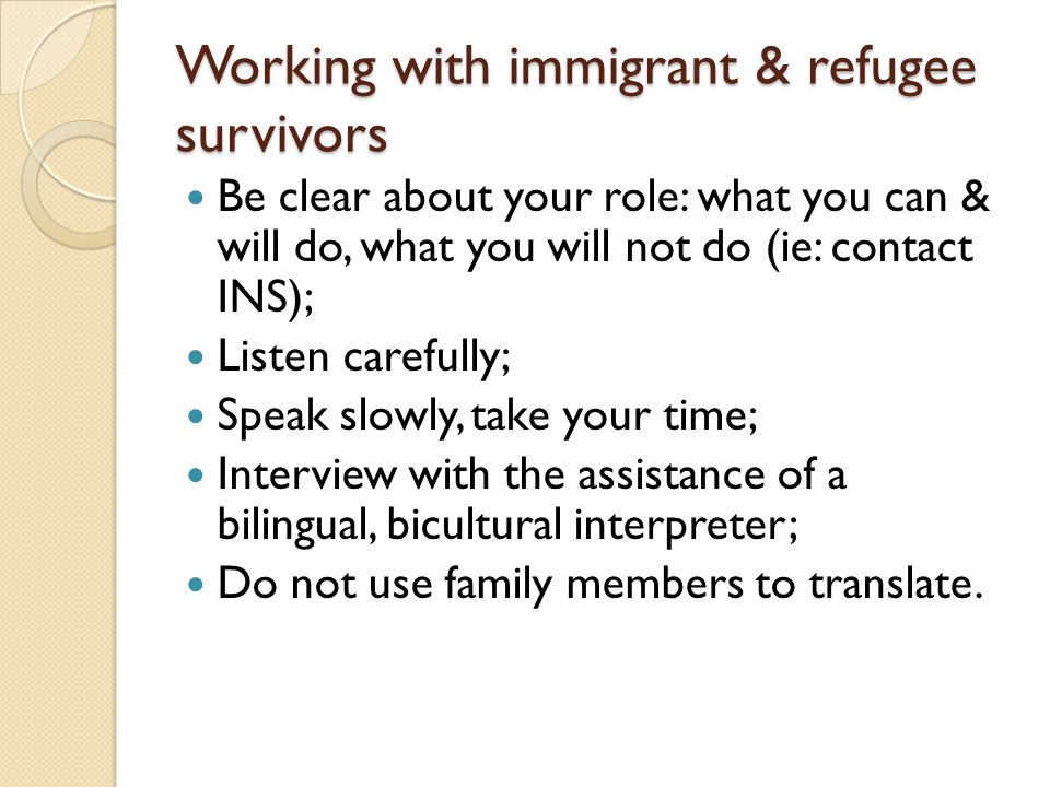 Working with immigrant & refugee survivors