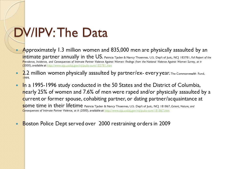 DV/IPV: The Data
