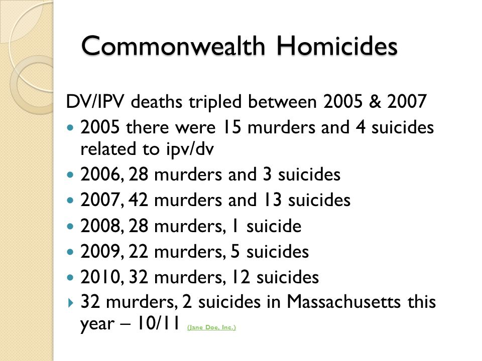 Commonwealth Homicides