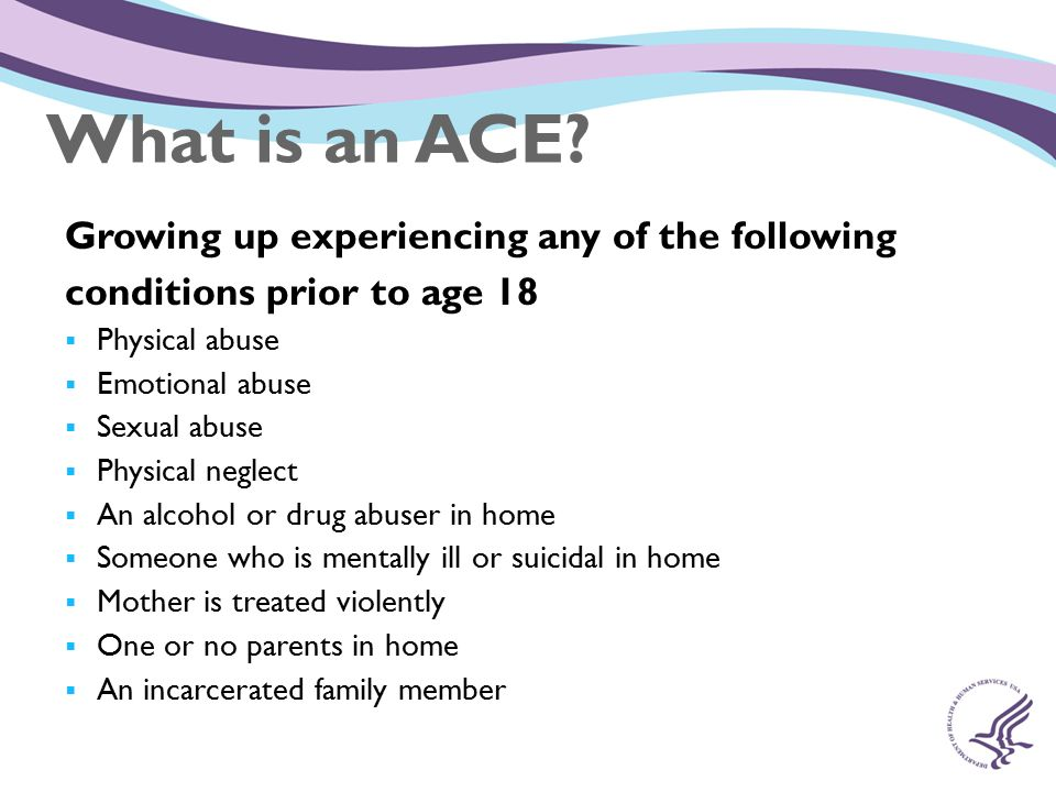 What is an ACE Growing up experiencing any of the following