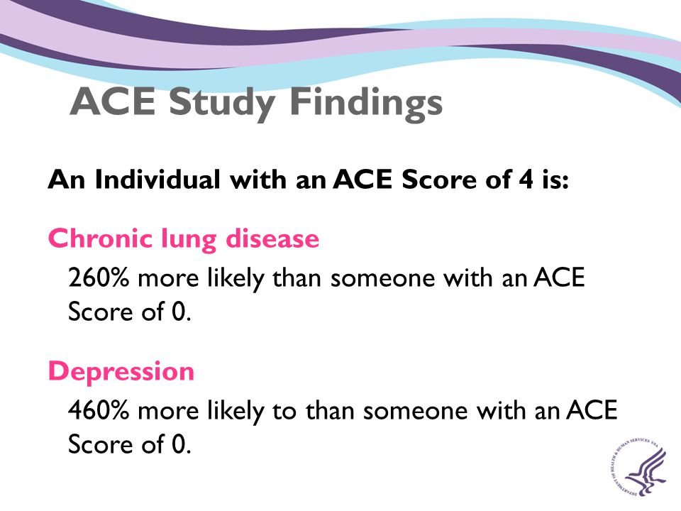 ACE Study Findings An Individual with an ACE Score of 4 is: