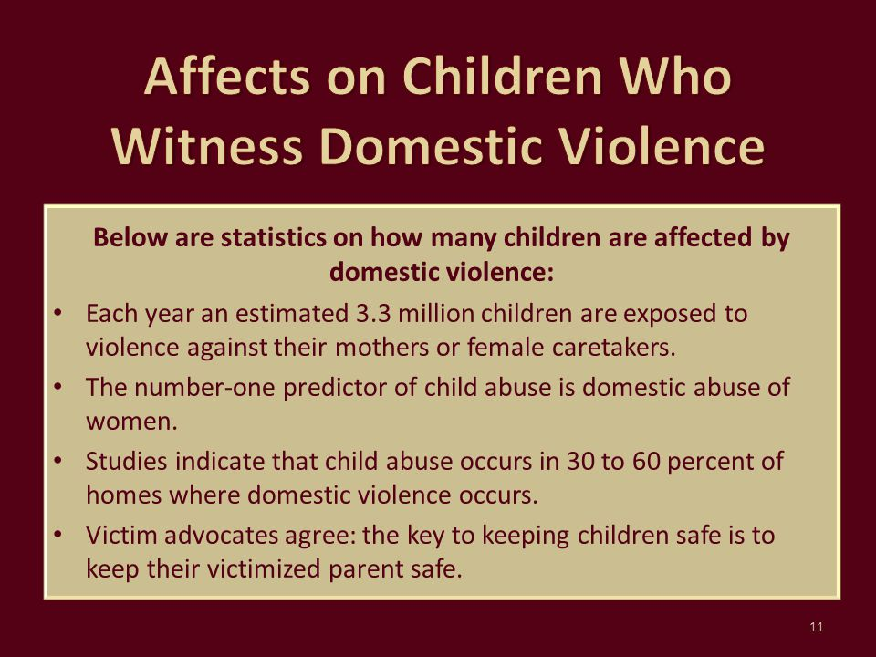 Affects on Children Who Witness Domestic Violence
